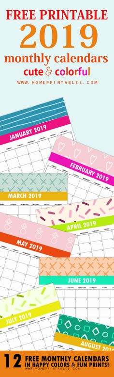 Free 2019 Monthly Calendar Printable: Cute and Colorful! – Home Printables – School Calendar İdeas. Free Monthly Calendar, Diy Calendar, School Calendar, 2019 Calendar, Monthly Photos, Daily Printable, Printable Planner, Free Printables, Printable Calendars