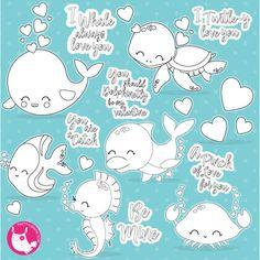 80 OFF SALE Valentine Sea Animals Jars Digital Stamp Commercial Use Vector Graphics