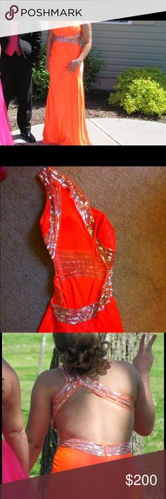 Coral color, prom dress from davids bridal. Prom dress from davids bridal, worn once, great condition! Dresses Prom