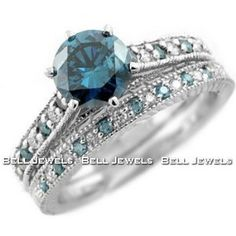 1.82ct Fancy-Blue Diamond Matching Engagement/Wedding Ring Set 14k White Gold Antique Style -- If I ever get married again (haha)...