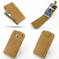 PDair Leather Case for The New HTC One 801e 801s - Flip Top Type (Brown/Crocodile Pattern)