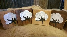 Hand painted cotton boll cedar wood coasters. Hand carfted from Rustic Flair by Lee Morris