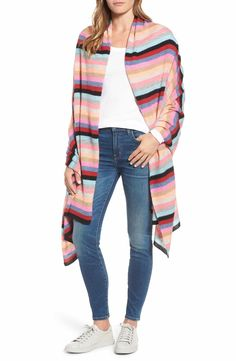 Main Image - White + Warren Travel Stripe Cashmere Wrap