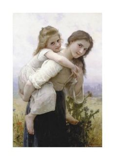off Hand made oil painting reproduction of Fardeau Agreable (Not too Much to Carry), one of the most famous paintings by William-Adolphe Bouguereau. William-Adolphe Bouguereau concluded the oil portrait entitled Fardeau Agreable, or Not too Much. William Adolphe Bouguereau, Vintage Illustration, Munier, Foto Art, Mother And Child, Caricatures, Beautiful Paintings, Oeuvre D'art, Art History
