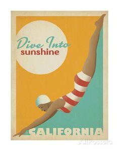 Dive Into Sunshine: California Kunstdruk