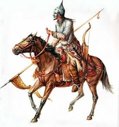 1100 - 1299 Kipchak warrior / smrtag history illustration reconstruction male horse bow spear medieval nomad