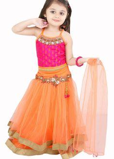 Girl's Light Orange And Pink Lehenga