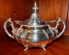 """Reed and Barton Sterling Silver Sugar Bowl with Lid in Hampton Court. Measures 8.5"""" w. x 5.5"""" h."""