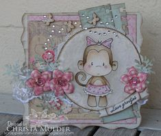 This little monkey is available at www.quickcreationz.com now! Credit for card goes to All That Scraps.