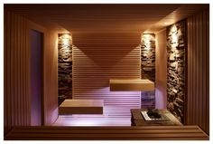 ruheraum 65 Ideas home gym lighting spas Sauna Steam Room, Sauna Room, Saunas, Sauna Lights, Gym Lighting, Sauna Design, Home Studio Music, Spa Rooms, Relaxation Room