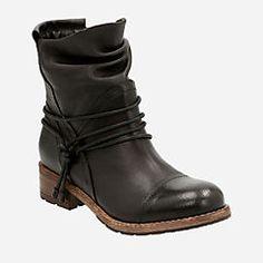 Clarks Women's Volara Dina Slouch Bootie, Size: 7 M, Black Cow Full Grain Leather Low Heel Boots, Ankle Boots, Bootie Boots, Black Mid Calf Boots, Leather Boots, Black Leather, Clarks Boots, Black Cow, Booty