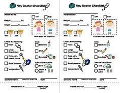 My Play Doctor Checklist & Appointment Cards - Imaginary/Dramatic Play Dramatic Play Area, Dramatic Play Centers, Play Based Learning, Learning Through Play, Pretend Play, Role Play, Doctor Office, Vet Office, Doctor Humor