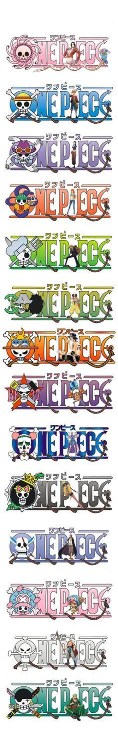 One piece ~ Pirate Skull Symbols -- Boa Hancock, Monkey D. Luffy, Nico Robin, Nami, Sanji, Usopp, Portgas D. Ace, Franky, Bon Clay, Brook, Shanks, Chopper, Whitebeard, and Roronoa Zoro