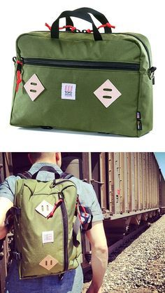 Topo Designs Mountain Briefcase  Topo Designs builds bags & packs right here in Colorado, U.S.A. Their Mountain Briefcase can be carried three ways: as a brief, a backpack, or sling. Simple styling and plenty of pockets make it versatile enough for workdays & weekends.  $149.00