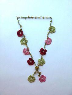 Green Pink & Bordeaux Handmade Flowered Long Necklace