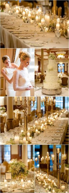 romantic ballroom wedding reception with gold and candle centerpieces; Featured Photographer: The Nichols