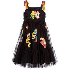 Girls Black Tulle Dress for Girl by Dolce & Gabbana. Discover more beautiful designer Dresses for kids online at Childrensalon.co.
