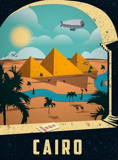 Cairo Egypt Egyptian Pyramids Pyramid Vintage Travel Art Advertisement Poster in… Vintage Travel Posters, Vintage Postcards, Vintage Advertisements, Vintage Ads, Art Vintage, Vintage Gifts, Retro Poster, Gig Poster, Kunst Poster