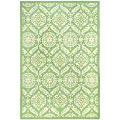 Add a centerpiece to any large room of your home that's sure to upgrade the room's decor with this beautiful hand-hooked green wool rug. The rug features a contemporary interlocking green pattern that gives it a slightly rustic country look.