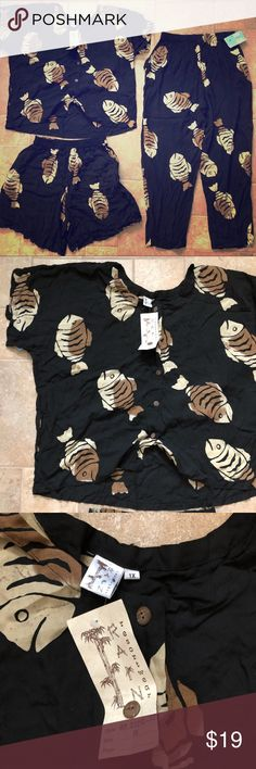 3-piece Indonesian set - very fishy ;) Black cotton, thin cotton fabric. Elastic in waist. New with tags Rain Shorts