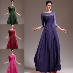 Glamour Stons Purple Evening Dresse Party Dress Long Sleeves US 2 4 6 8 10 12 14 #Sunvary #Aline #Formal