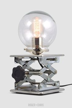 Cranky Industrial Table Lamp from Roger + Chris Light Table, Lamp Light, Light Up, Metal Table Lamps, Bedside Table Lamps, Desk Lamp, Ceiling Fixtures, Light Fixtures, Industrial Table