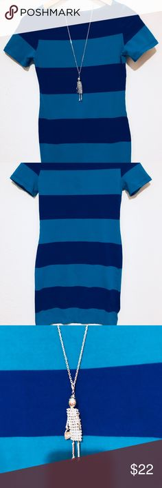 CUTE & FUN TEE SHIRT DRESS 👗 THIS IS THE CUTEST TEE SHIRT DRESS 👗 IT HAS STRIPES GOING ACROSS WITH TWO DIFFERENT COLORS OF BLUES. WE HAVE IT SHOWN WiTH OUR CUTE SILVER & RHINESTONE NECKLACE ❣️NECKLACES ARE AVAILABLE IN OUR CLOSET ‼️ SO BUNDLE THREE ITEMS & SAVE 10 %‼️ xaci Dresses