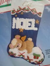 Christmas Bucilla Felt Applique Stocking Kit,DREAMING TEDDY,Baby Bear,Size 18 Felt Christmas Stockings, Felt Stocking, Felt Crafts, Christmas Crafts, Felt Applique, Sweets, Bear, Kit, Ornaments