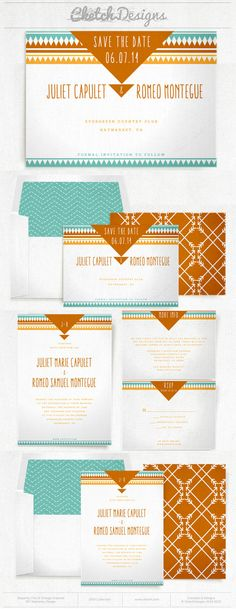 Teal and orange tribal wedding invitation and save the date template.  Back patterns and envelope liners included. $9.00 - https://www.etsy.com/listing/178822565/diy-printable-word-template-2014-ribbon
