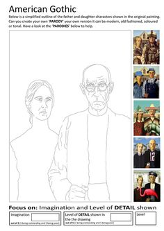 Here are the Popular Grant Wood American Gothic Coloring Page. This post about Popular Grant Wood American Gothic Coloring Page was posted . Art Sub Plans, Art Lesson Plans, Art Substitute Plans, High School Art, Middle School Art, Documents D'art, Programme D'art, Art Sub Lessons, Classe D'art