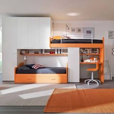 'Orange' Kid's bedroom furniture set with truckle-bunk beds by Siluetto : Beds & cribs by My Italian Living