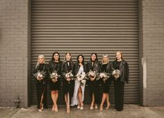 All black everything minimal bridesmaids dresses with leather jackets. Millwick Wedding Venue, Los Angeles IsaiahAndTaylor.com Los Angeles wedding photographer, husband & wife wedding photographer team, Southern California wedding photographers, downtown urban wedding portraits, warehouse wedding, Grace + Lace wedding dress, Scottish wedding, Isaiah + Taylor Photography