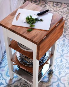 add butcher block on hinges to kitchen cart