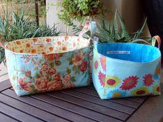 Small Storage. The Stitchin' Chicken's Fabric Bucket/Basket Tutorial -- #smallstorageDIY