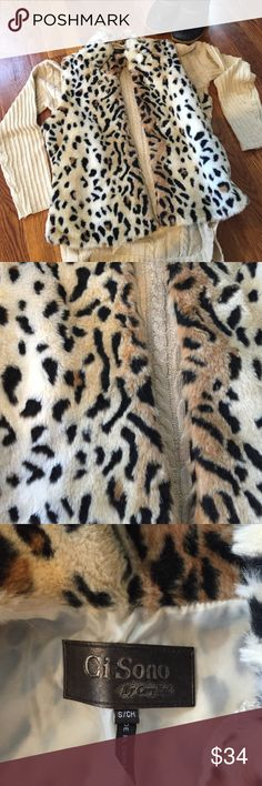 🐯🦁Faux Fur Vest🦁🐯 So adorable fake fur vest size small. Worn only a handful of times this is in excellent pre-loved condition. Supersoft and fully lined. Selling the vest only not the sweater pictured with it. Jackets & Coats Vests