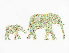 Mama and Baby Elephant Print
