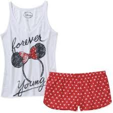 Walmart: Juniors Minnie Mouse Tank & Short PJ Set from Walmart. Saved to clothes. Disney Outfits, Outfits For Teens, Summer Outfits, Cute Outfits, Disney Clothes, Pijama Disney, Disney Pajamas, Cute Pjs, Cute Pajamas