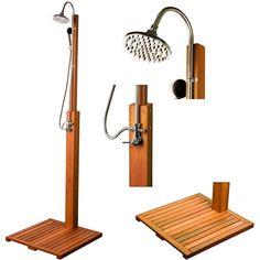 STILISTA® FSC Hartholz Gartendusche Sauna Garten Swimmingpool Dusche Pooldusche in Heimwerker, Sauna & Schwimmbecken, Dampfbäder & -duschen | eBay