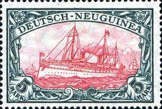 "German New Guinea 1918 Yacht, ""Hohenzollern II"" Issue [MiNr 23 II A II] 5mk Green black and red carmine - War printing - 26:17 perforation - Type II center"