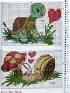 Turtle and Snail cross stitch.