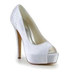 $44.04 Gorgeous Women's Peep Toe Wedding Shoes With Rhinestones and Stiletto Heel Design