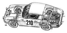 Porsche cutaway (illustrator unknown)