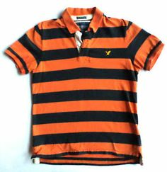Mens Size L American Eagle Vintage Slim Fit Rugby Polo Shirt, Orange/Navy Stripe. $7.99