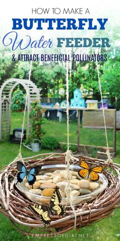 How to Make a Butterfly Water Feeder 2019 Attract beautiful butterflies and other essential polliators to your garden with this DIY grapevine wreath water feeder. The post How to Make a Butterfly Water Feeder 2019 appeared first on Flowers Decor. Diy Garden Projects, Garden Crafts, Outdoor Projects, Diy Garden Decor, Creative Garden Ideas, Cute Garden Ideas, Organic Gardening, Gardening Tips, Vegetable Gardening