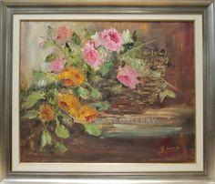Rosa Maria: Rosas vivas. Oleo sobre lienzo. Medidas (cm): 88x75. Maravillosa obra llena de luz y colordido. Pintura al oleo sobre lienzo que firma una de las mejores pintoras impresionistas andaluzas. Un cuadro de bellísima factura y perfectamente enmarcado y terminado. Una obra de arte magnífica a un precio excelente. $1349