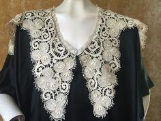 Antique Victorian Black & White Satin Kaftan Dress Needle Lace Orientalist Angel | eBay