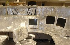 Decorated cubicles with foil! #decoratedcubicles