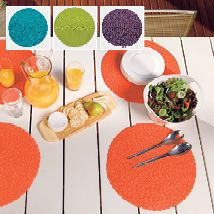 The fabulous Aloha placemats come in four fashion colours that can be mixed and matched for individual colour choice or selected as a single colour dining option. Bold and bright, these large straw mats will add an instant lift to any indoor or outdoor dining area.