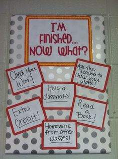 """To avoid students interrupting your one-on-one teaching or having every student ask what to do after every assignment, the teacher can display a """"I'm Finished...Now What?"""" bulletin board or chart that lets the child know what to do when they finish an assignment! 7811"""