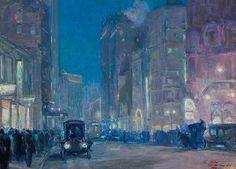 CHARLES C. HOFFBAUER  American (1875-1957)  New York Street Scene